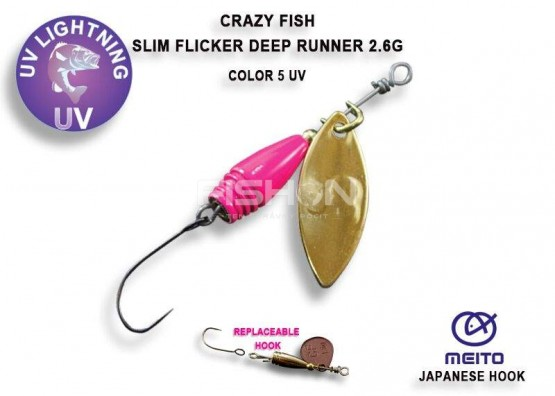 Třpytka Crazy Fish Slim Fleacker deep runner barva 5